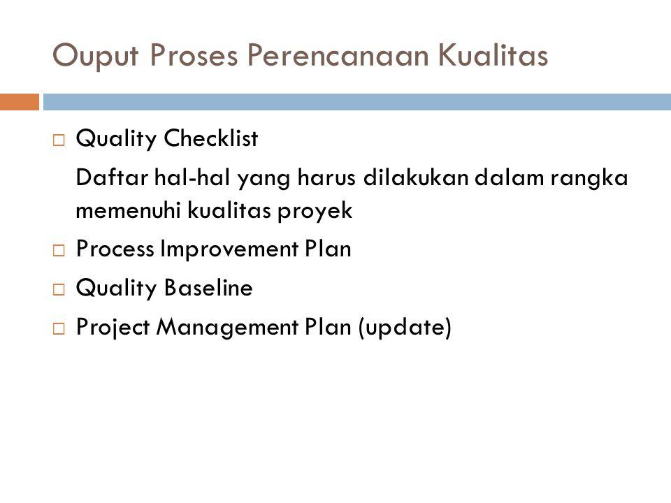 Ouput Proses Perencanaan Kualitas  Quality Checklist Daftar hal-hal yang harus dilakukan dalam rangka memenuhi kualitas proyek  Process Improvement
