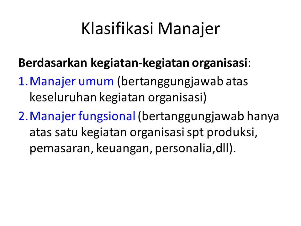 Klasifikasi Manajer Berdasarkan Tingkatannya Manajer Lini. Adalah tingkatan manajemen yang paling rendah dalam suatu organisasi yang memimpin dan meng