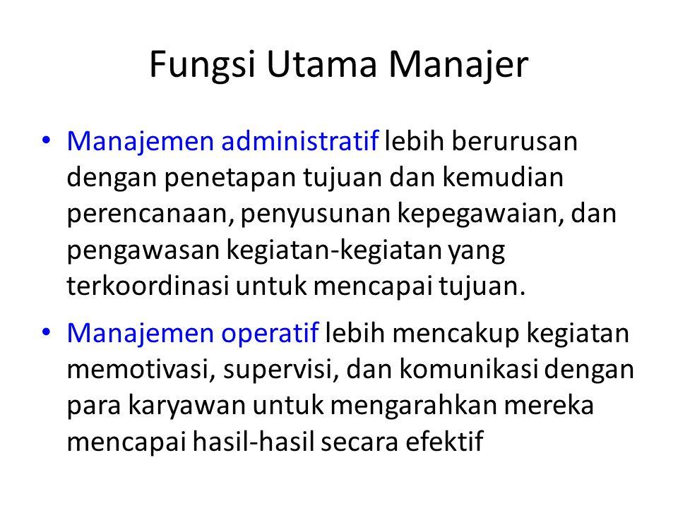 Klasifikasi Manajer Berdasarkan kegiatan-kegiatan organisasi: 1.Manajer umum (bertanggungjawab atas keseluruhan kegiatan organisasi) 2.Manajer fungsio