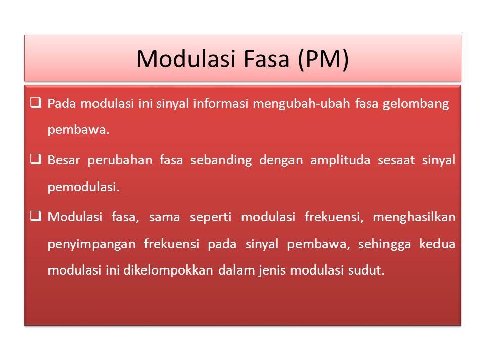 Modulasi Fasa (PM)  Pada modulasi ini sinyal informasi mengubah-ubah fasa gelombang pembawa.  Besar perubahan fasa sebanding dengan amplituda sesaat