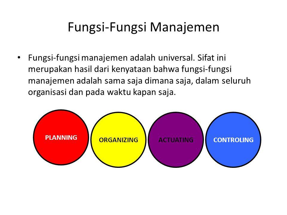 Fungsi-Fungsi Manajemen Fungsi-fungsi manajemen adalah universal. Sifat ini merupakan hasil dari kenyataan bahwa fungsi-fungsi manajemen adalah sama s