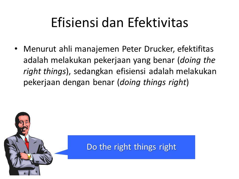 Efisiensi dan Efektivitas Menurut ahli manajemen Peter Drucker, efektifitas adalah melakukan pekerjaan yang benar (doing the right things), sedangkan