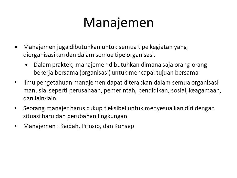 Manajemen Manajemen juga dibutuhkan untuk semua tipe kegiatan yang diorganisasikan dan dalam semua tipe organisasi. Dalam praktek, manajemen dibutuhka