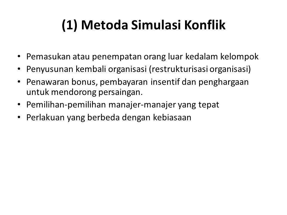 (1) Metoda Simulasi Konflik Pemasukan atau penempatan orang luar kedalam kelompok Penyusunan kembali organisasi (restrukturisasi organisasi) Penawaran