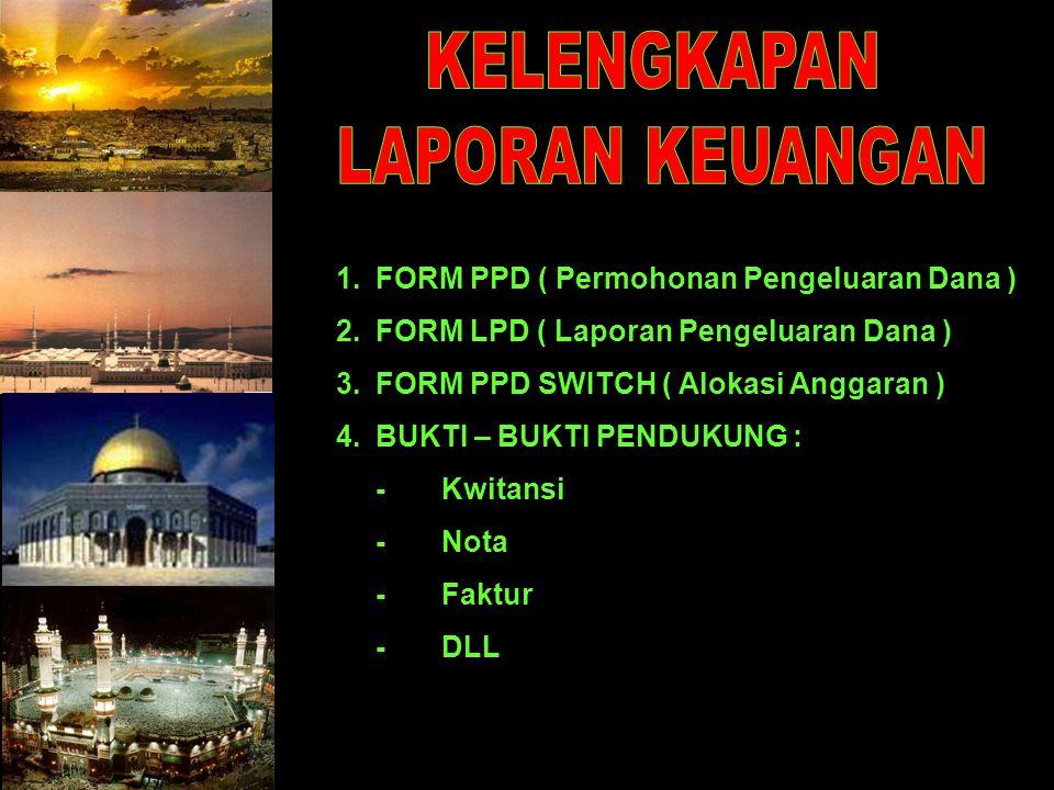 1.FORM PPD ( Permohonan Pengeluaran Dana ) 2.FORM LPD ( Laporan Pengeluaran Dana ) 3.FORM PPD SWITCH ( Alokasi Anggaran ) 4.BUKTI – BUKTI PENDUKUNG : -Kwitansi - Nota - Faktur - DLL