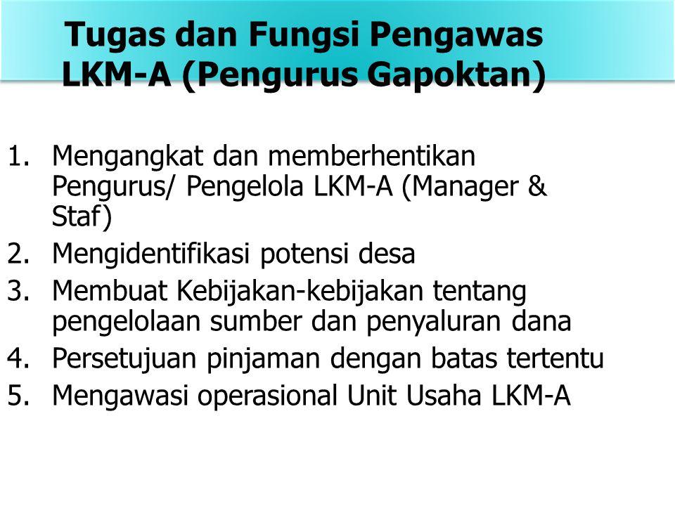 1.Mengangkat dan memberhentikan Pengurus/ Pengelola LKM-A (Manager & Staf) 2.Mengidentifikasi potensi desa 3.Membuat Kebijakan-kebijakan tentang pengelolaan sumber dan penyaluran dana 4.Persetujuan pinjaman dengan batas tertentu 5.Mengawasi operasional Unit Usaha LKM-A Tugas dan Fungsi Pengawas LKM-A (Pengurus Gapoktan)
