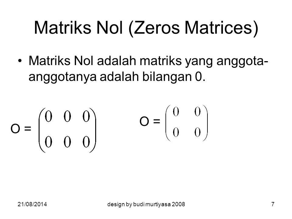 Operasi Matriks Penjumlahan Pengurangan Perkalian Skalar Perkalian Matriks 21/08/20148design by budi murtiyasa 2008