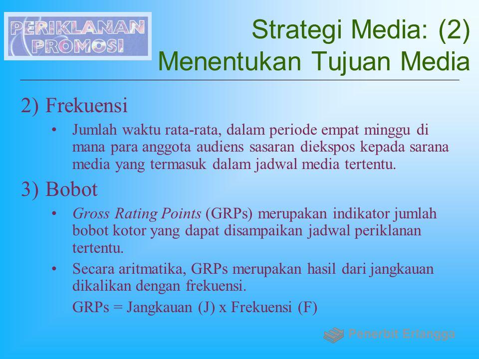 Strategi Media: (2) Menentukan Tujuan Media 2)Frekuensi Jumlah waktu rata-rata, dalam periode empat minggu di mana para anggota audiens sasaran dieksp