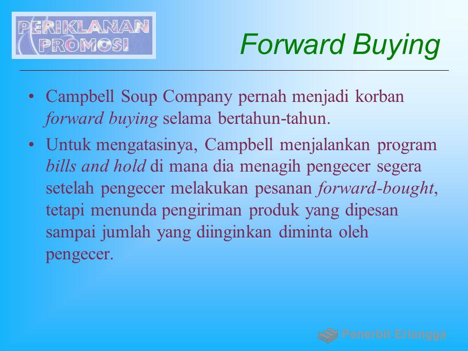 Forward Buying Campbell Soup Company pernah menjadi korban forward buying selama bertahun-tahun. Untuk mengatasinya, Campbell menjalankan program bill