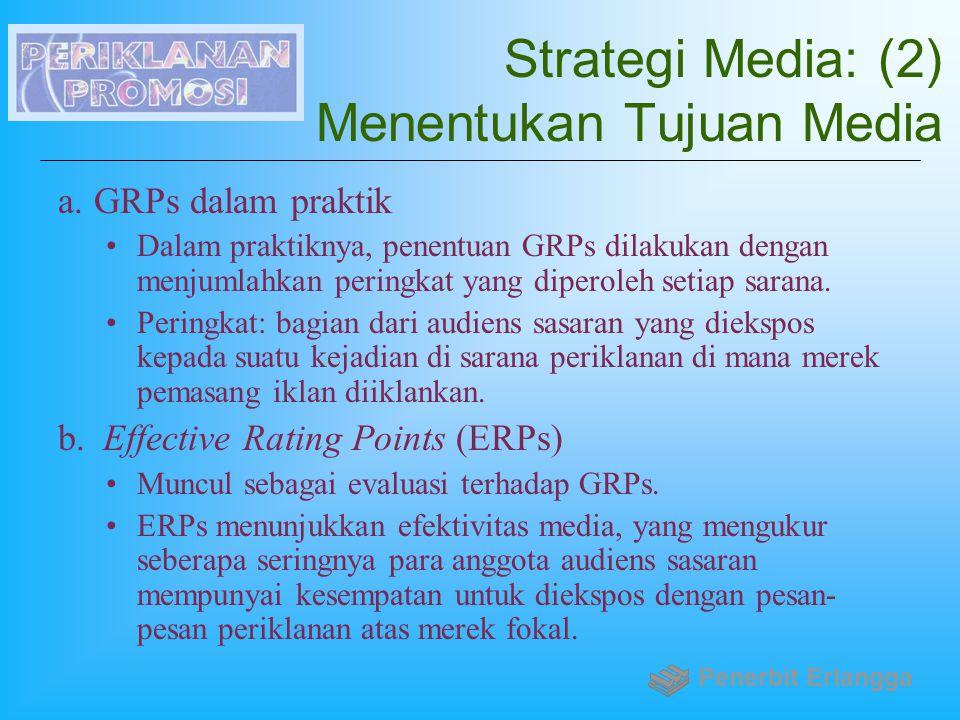 Strategi Media: (2) Menentukan Tujuan Media a.GRPs dalam praktik Dalam praktiknya, penentuan GRPs dilakukan dengan menjumlahkan peringkat yang diperol