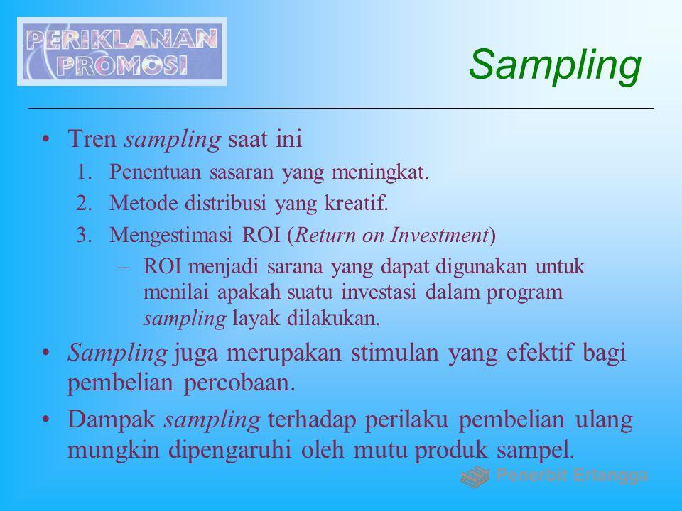 Sampling Tren sampling saat ini 1.Penentuan sasaran yang meningkat. 2.Metode distribusi yang kreatif. 3.Mengestimasi ROI (Return on Investment) –ROI m