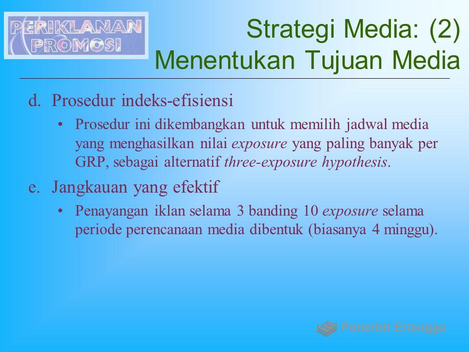 Strategi Media: (2) Menentukan Tujuan Media d.Prosedur indeks-efisiensi Prosedur ini dikembangkan untuk memilih jadwal media yang menghasilkan nilai e