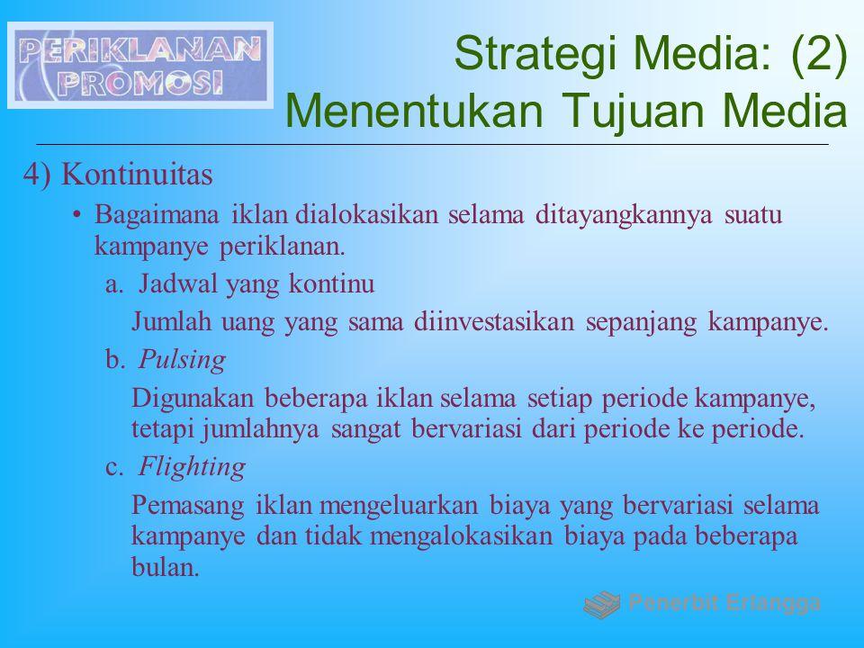 Strategi Media: (2) Menentukan Tujuan Media 4)Kontinuitas Bagaimana iklan dialokasikan selama ditayangkannya suatu kampanye periklanan. a. Jadwal yang