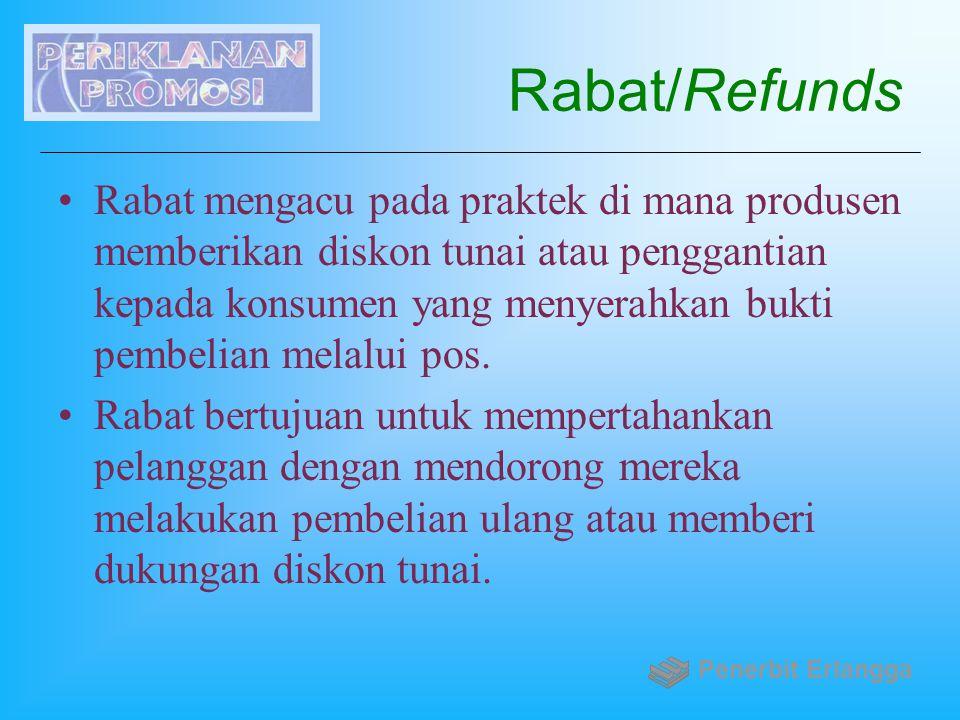 Rabat/Refunds Rabat mengacu pada praktek di mana produsen memberikan diskon tunai atau penggantian kepada konsumen yang menyerahkan bukti pembelian me