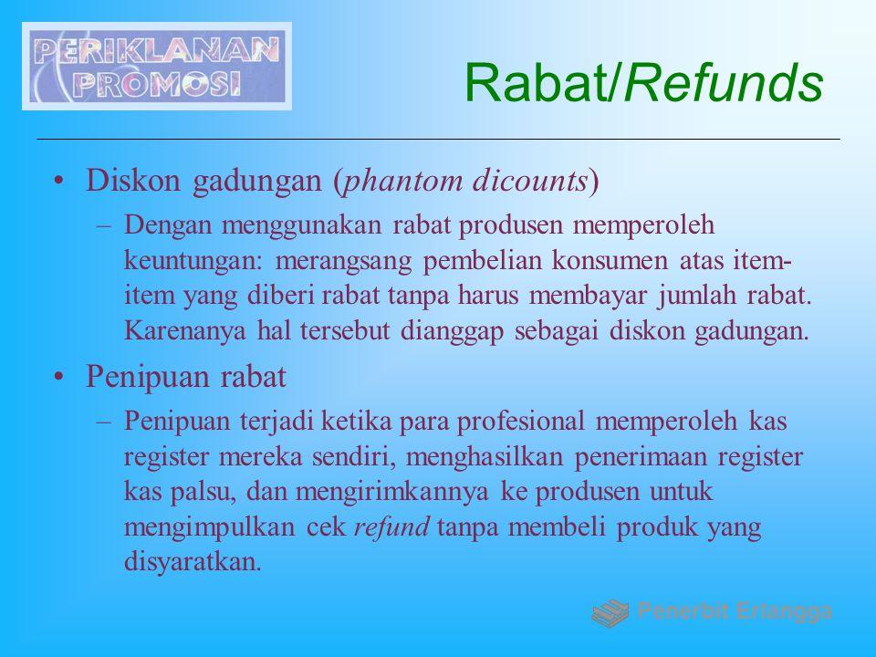 Rabat/Refunds Diskon gadungan (phantom dicounts) –Dengan menggunakan rabat produsen memperoleh keuntungan: merangsang pembelian konsumen atas item- it