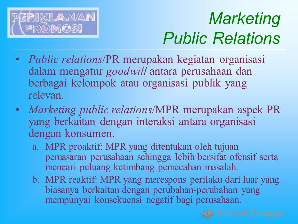 Marketing Public Relations Public relations/PR merupakan kegiatan organisasi dalam mengatur goodwill antara perusahaan dan berbagai kelompok atau orga