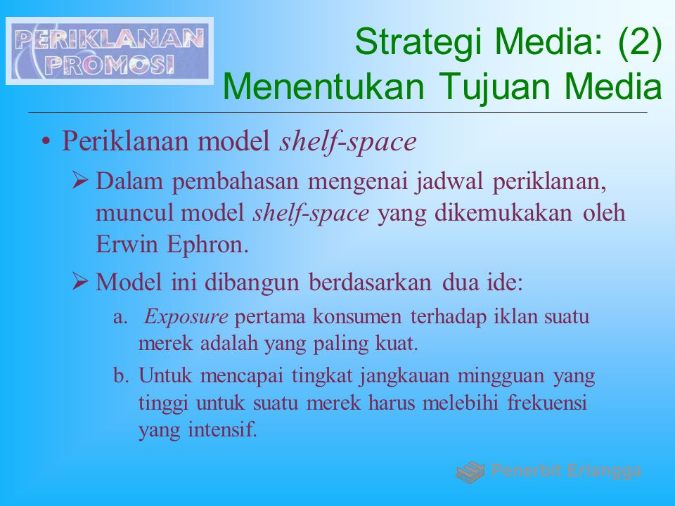 Strategi Media: (2) Menentukan Tujuan Media Periklanan model shelf-space  Dalam pembahasan mengenai jadwal periklanan, muncul model shelf-space yang