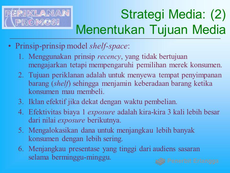 Strategi Media: (2) Menentukan Tujuan Media Prinsip-prinsip model shelf-space: 1.Menggunakan prinsip recency, yang tidak bertujuan mengajarkan tetapi