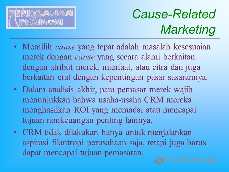 Cause-Related Marketing Memilih cause yang tepat adalah masalah kesesuaian merek dengan cause yang secara alami berkaitan dengan atribut merek, manfaa