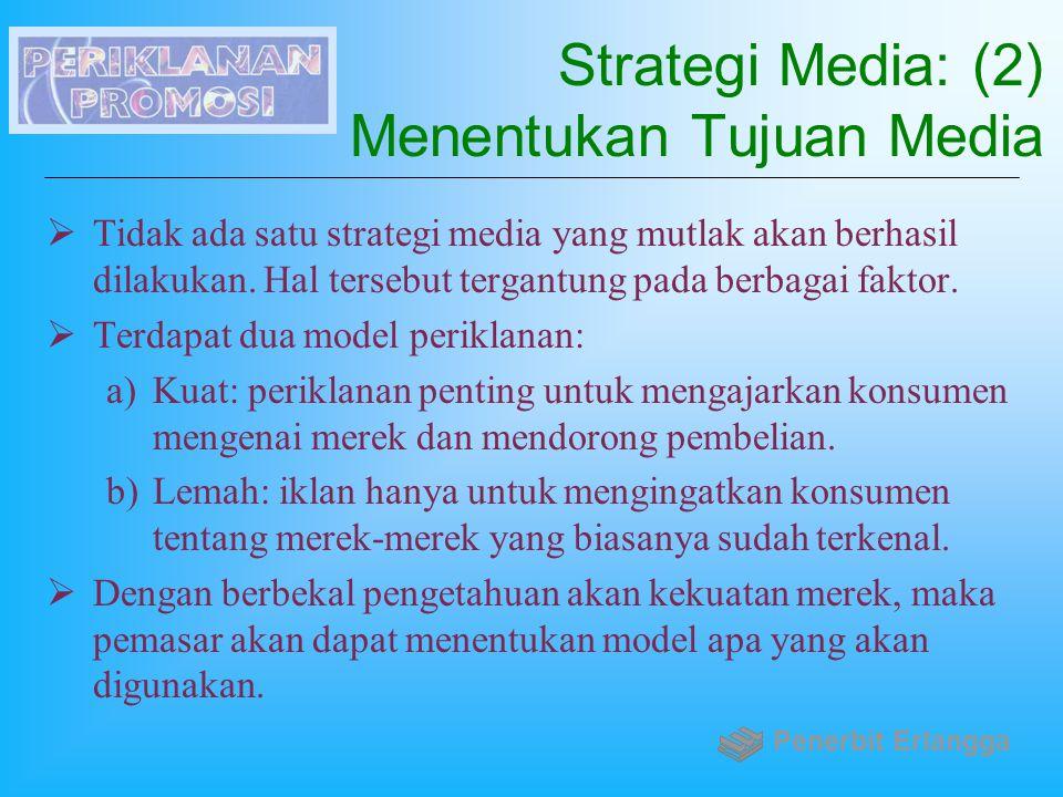 Strategi Media: (2) Menentukan Tujuan Media  Tidak ada satu strategi media yang mutlak akan berhasil dilakukan. Hal tersebut tergantung pada berbagai