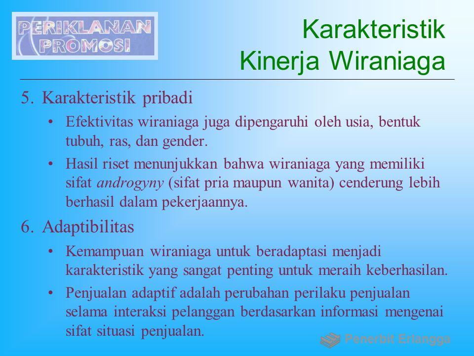 Karakteristik Kinerja Wiraniaga 5.Karakteristik pribadi Efektivitas wiraniaga juga dipengaruhi oleh usia, bentuk tubuh, ras, dan gender. Hasil riset m