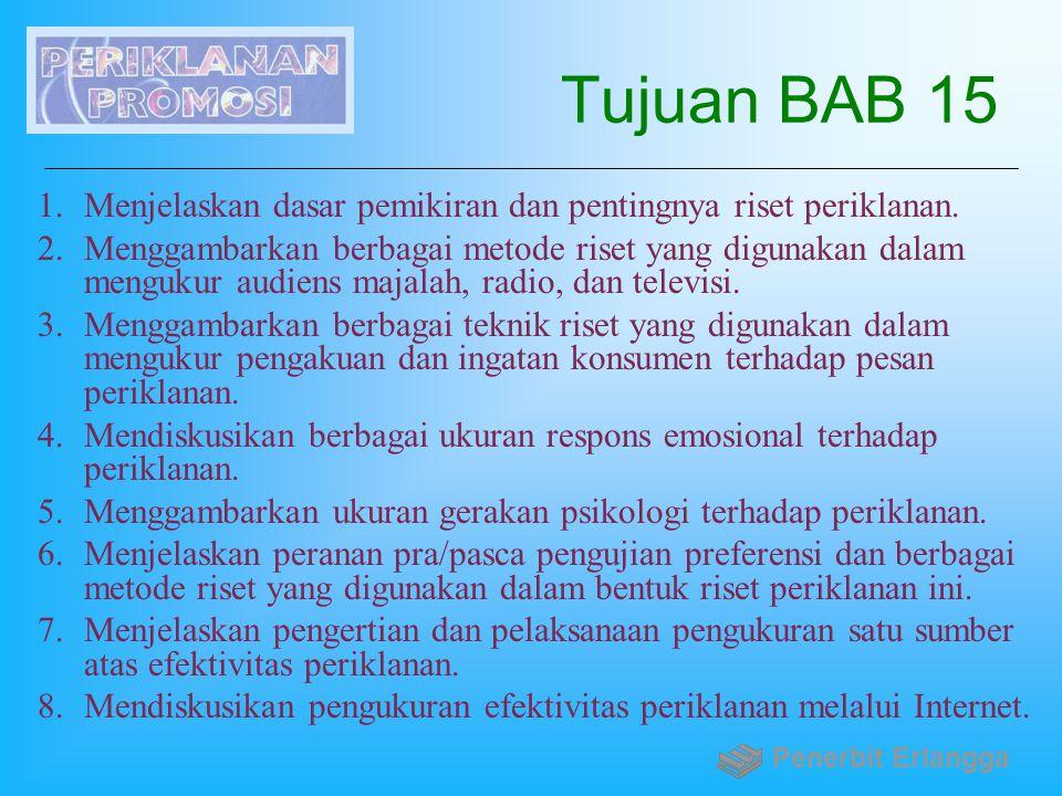 Tujuan BAB 15 1.Menjelaskan dasar pemikiran dan pentingnya riset periklanan. 2.Menggambarkan berbagai metode riset yang digunakan dalam mengukur audie