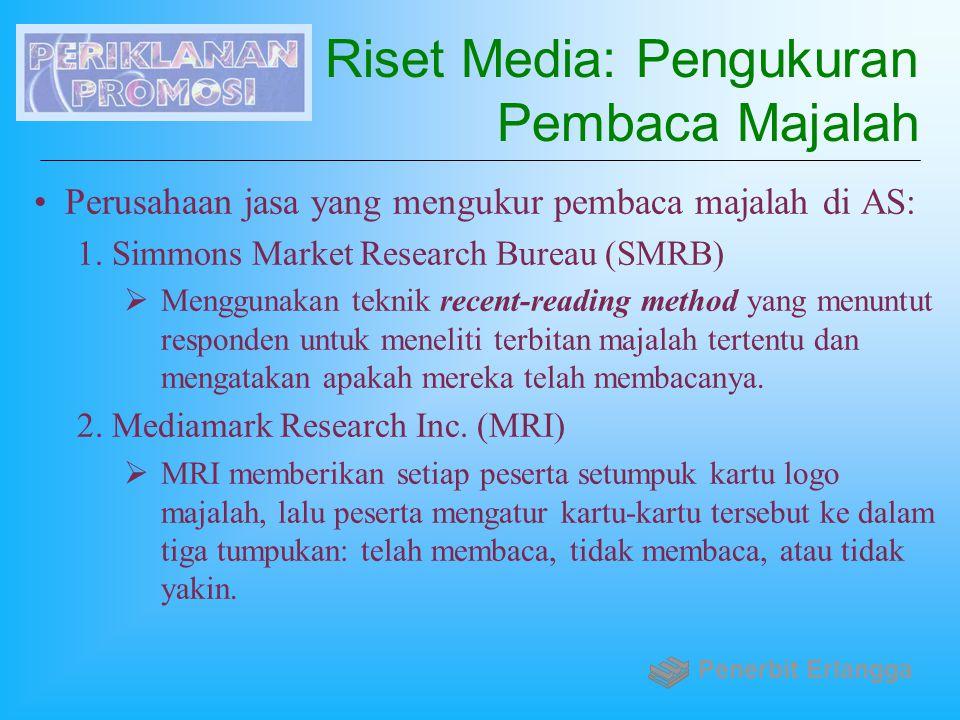 Riset Media: Pengukuran Pembaca Majalah Perusahaan jasa yang mengukur pembaca majalah di AS: 1.Simmons Market Research Bureau (SMRB)  Menggunakan tek
