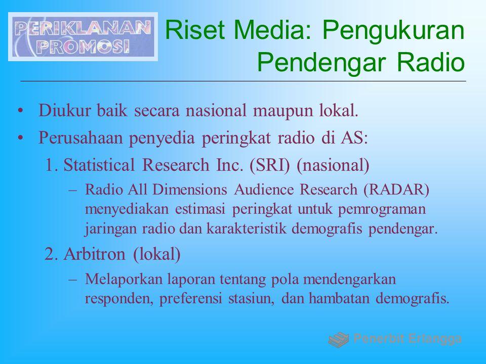 Riset Media: Pengukuran Pendengar Radio Diukur baik secara nasional maupun lokal. Perusahaan penyedia peringkat radio di AS: 1.Statistical Research In