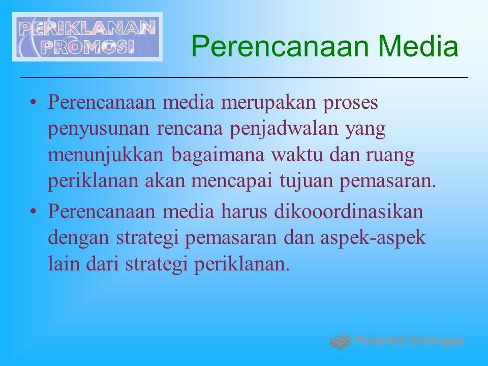 Perencanaan Media Perencanaan media merupakan proses penyusunan rencana penjadwalan yang menunjukkan bagaimana waktu dan ruang periklanan akan mencapa