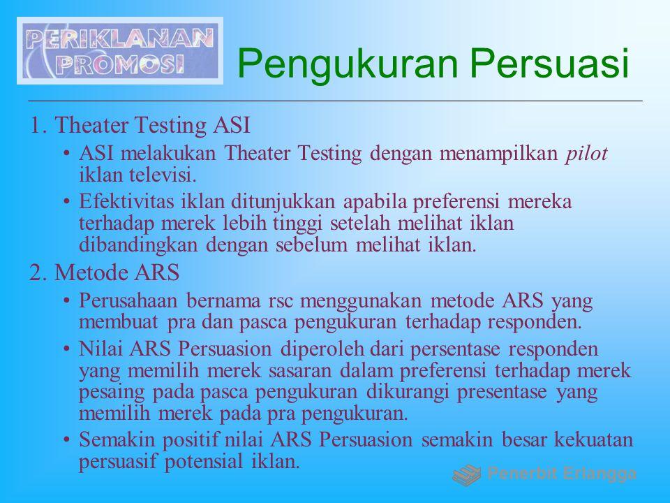 Pengukuran Persuasi 1.Theater Testing ASI ASI melakukan Theater Testing dengan menampilkan pilot iklan televisi. Efektivitas iklan ditunjukkan apabila