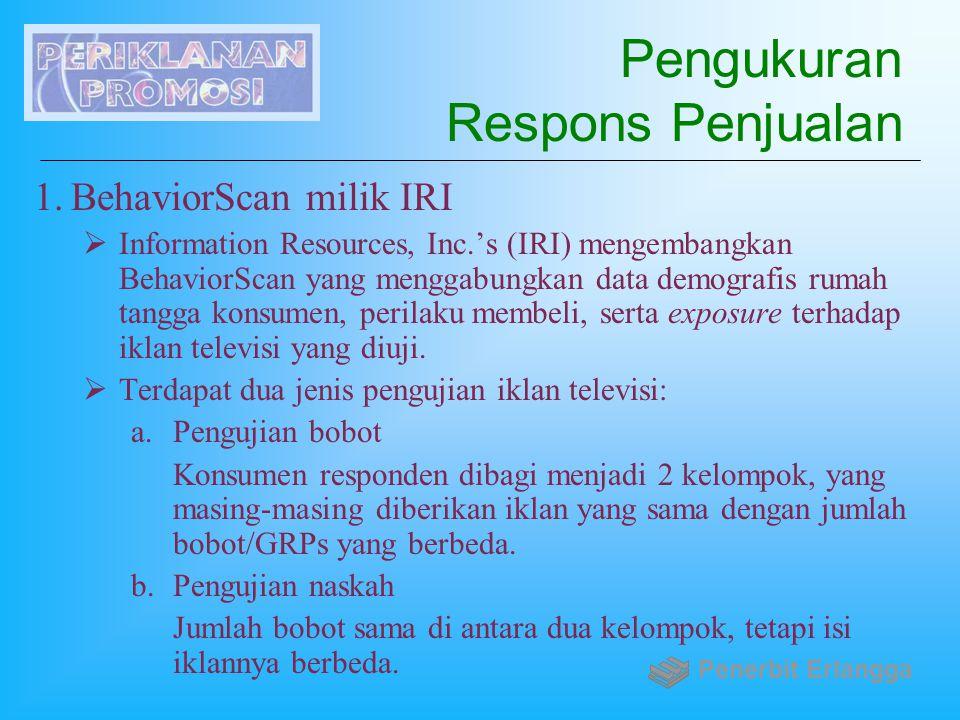 Pengukuran Respons Penjualan 1.BehaviorScan milik IRI  Information Resources, Inc.'s (IRI) mengembangkan BehaviorScan yang menggabungkan data demogra