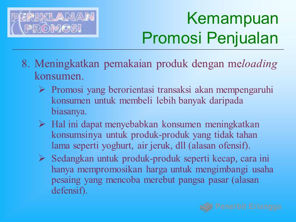 Kemampuan Promosi Penjualan 8.Meningkatkan pemakaian produk dengan meloading konsumen.  Promosi yang berorientasi transaksi akan mempengaruhi konsume