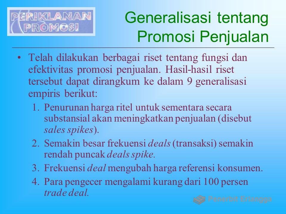 Generalisasi tentang Promosi Penjualan Telah dilakukan berbagai riset tentang fungsi dan efektivitas promosi penjualan. Hasil-hasil riset tersebut dap