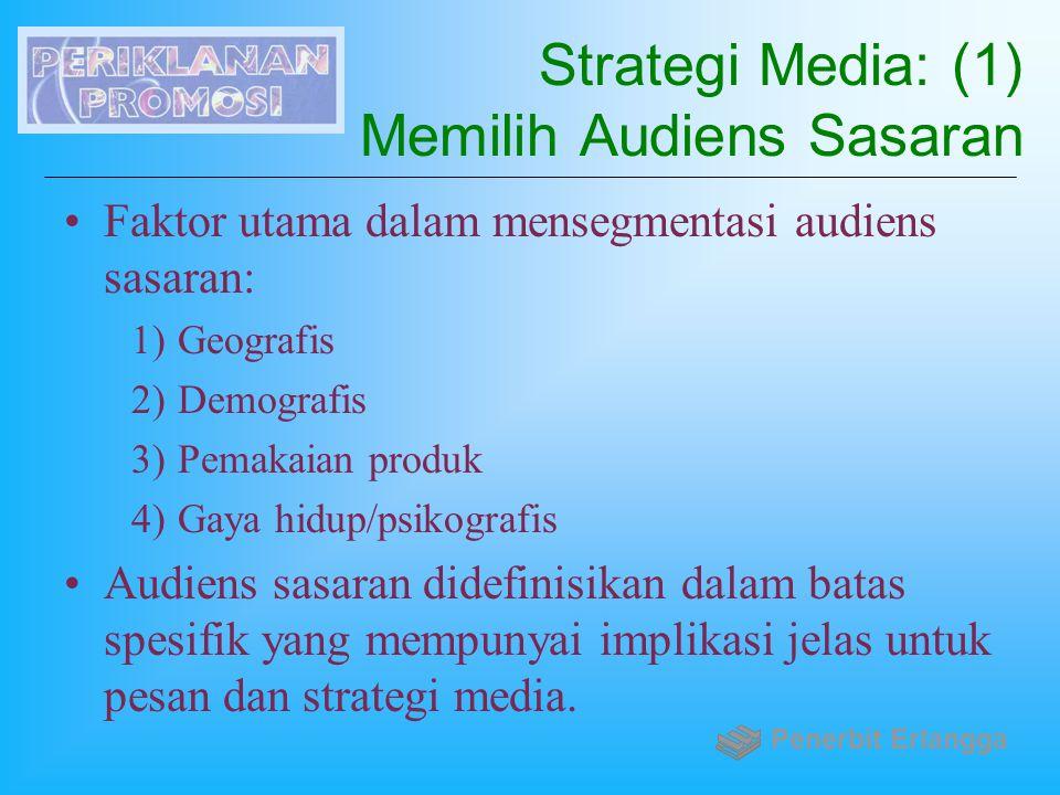 Strategi Media: (1) Memilih Audiens Sasaran Faktor utama dalam mensegmentasi audiens sasaran: 1)Geografis 2)Demografis 3)Pemakaian produk 4)Gaya hidup