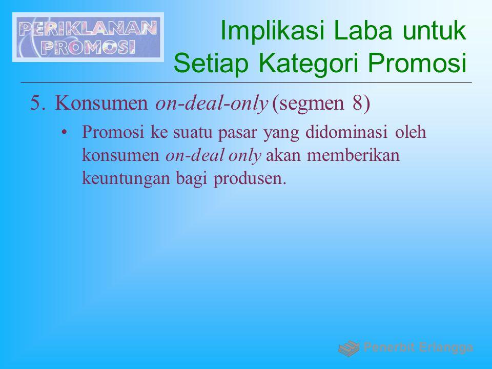 Implikasi Laba untuk Setiap Kategori Promosi 5.Konsumen on-deal-only (segmen 8) Promosi ke suatu pasar yang didominasi oleh konsumen on-deal only akan