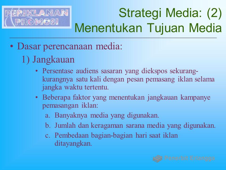 Strategi Media: (2) Menentukan Tujuan Media Dasar perencanaan media: 1)Jangkauan Persentase audiens sasaran yang diekspos sekurang- kurangnya satu kal