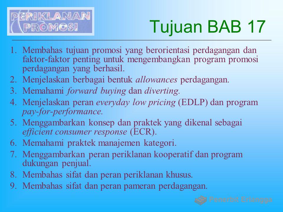 Tujuan BAB 17 1.Membahas tujuan promosi yang berorientasi perdagangan dan faktor-faktor penting untuk mengembangkan program promosi perdagangan yang b