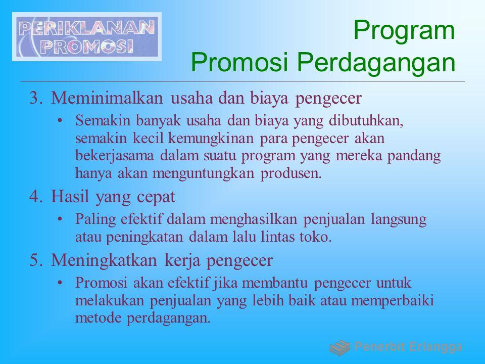 Program Promosi Perdagangan 3.Meminimalkan usaha dan biaya pengecer Semakin banyak usaha dan biaya yang dibutuhkan, semakin kecil kemungkinan para pen
