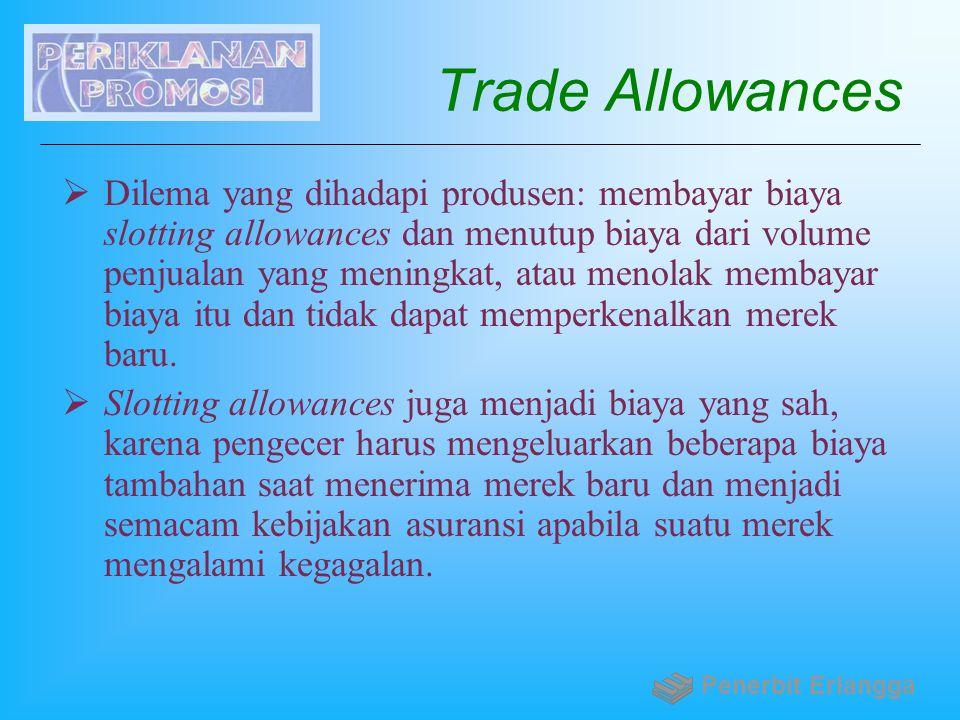 Trade Allowances  Dilema yang dihadapi produsen: membayar biaya slotting allowances dan menutup biaya dari volume penjualan yang meningkat, atau meno