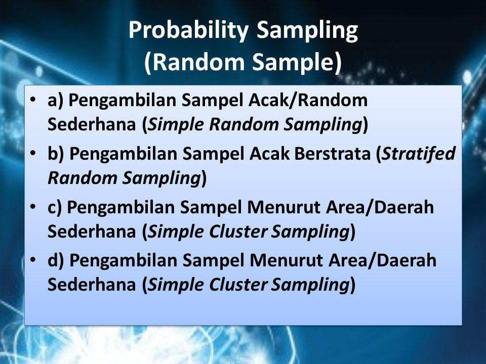 Probability Sampling (Random Sample) a) Pengambilan Sampel Acak/Random Sederhana (Simple Random Sampling) b) Pengambilan Sampel Acak Berstrata (Strati