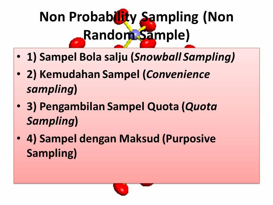 Non Probability Sampling (Non Random Sample) 1) Sampel Bola salju (Snowball Sampling) 2) Kemudahan Sampel (Convenience sampling) 3) Pengambilan Sampel