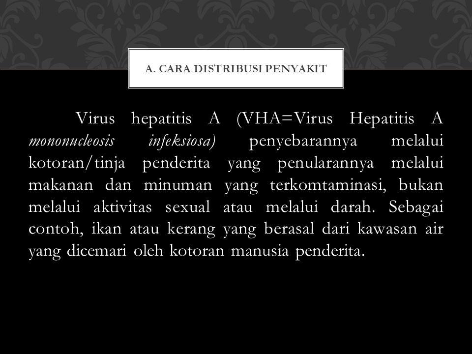 Virus hepatitis A (VHA=Virus Hepatitis A mononucleosis infeksiosa) penyebarannya melalui kotoran/tinja penderita yang penularannya melalui makanan dan
