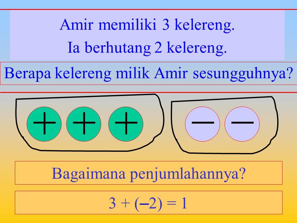 Amir memiliki 3 kelereng. Bagaimana penjumlahannya? Ayahnya memberinya 2 kelereng. Berapa kelereng milik Amir sekarang? 3 + 2 = 5