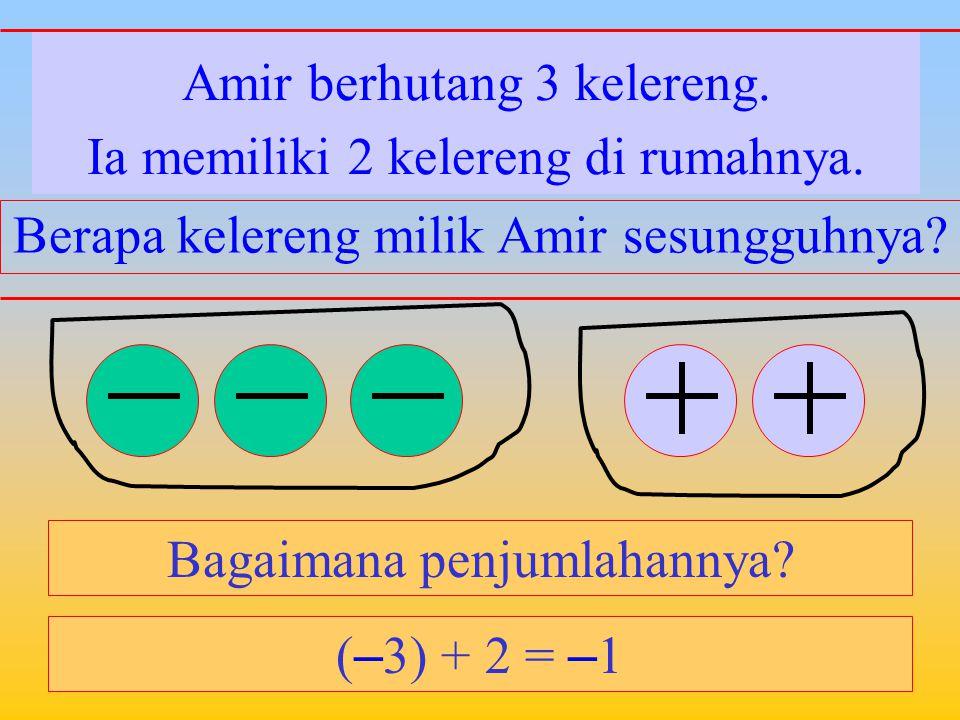 Amir memiliki 3 kelereng. Bagaimana penjumlahannya? Ia berhutang 2 kelereng. Berapa kelereng milik Amir sesungguhnya? 3 + ( – 2) = 1