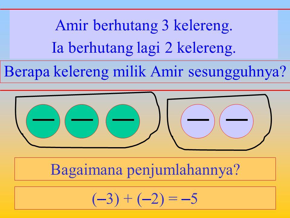 Amir berhutang 3 kelereng. Bagaimana penjumlahannya? Ia memiliki 2 kelereng di rumahnya. Berapa kelereng milik Amir sesungguhnya? ( – 3) + 2 = – 1