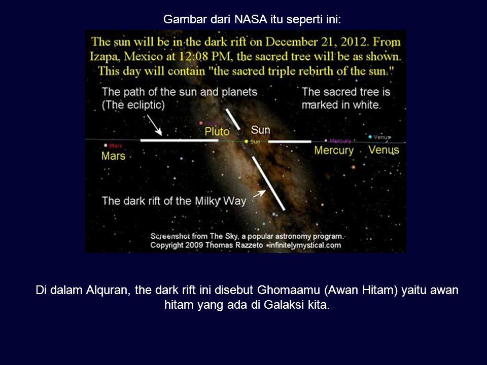 Gambar dari NASA itu seperti ini: Di dalam Alquran, the dark rift ini disebut Ghomaamu (Awan Hitam) yaitu awan hitam yang ada di Galaksi kita.