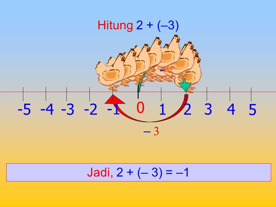 Hitung 2 + 3 2 3 Jadi, 2 + 3 = 5 1 0 2 -2 3 -34 -4 5 -5