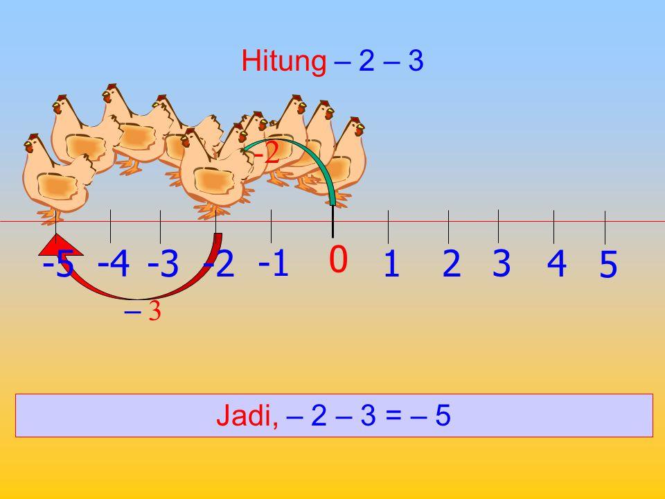 Hitung 2 – (–3) 2 – ( – 3) Jadi, 2 – (– 3) = 5 1 0 2 -2 3 -34 -4 5 -5