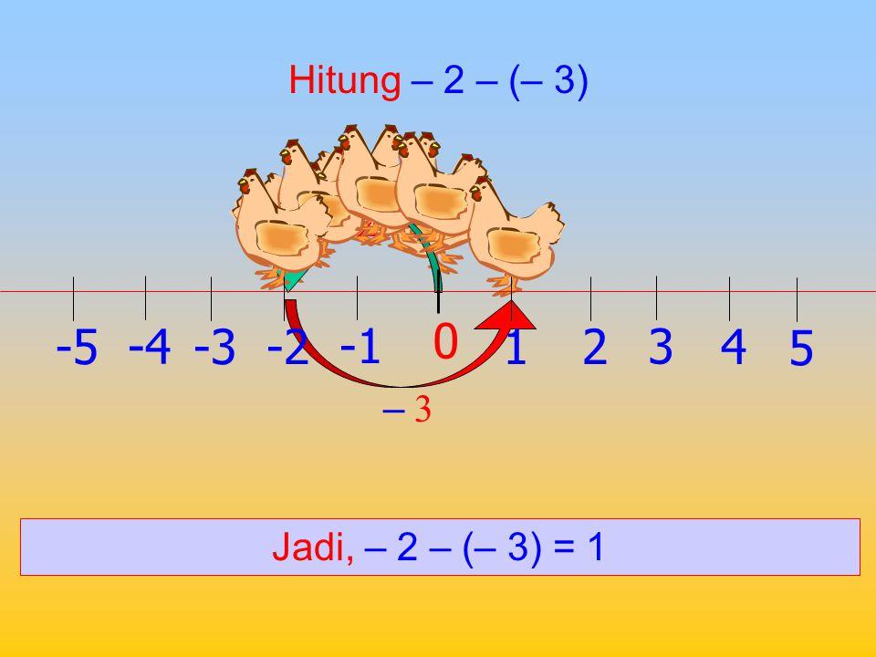 Hitung – 2 – 3 -2 – 3 Jadi, – 2 – 3 = – 5 1 0 2 -2 3 -34 -4 5 -5
