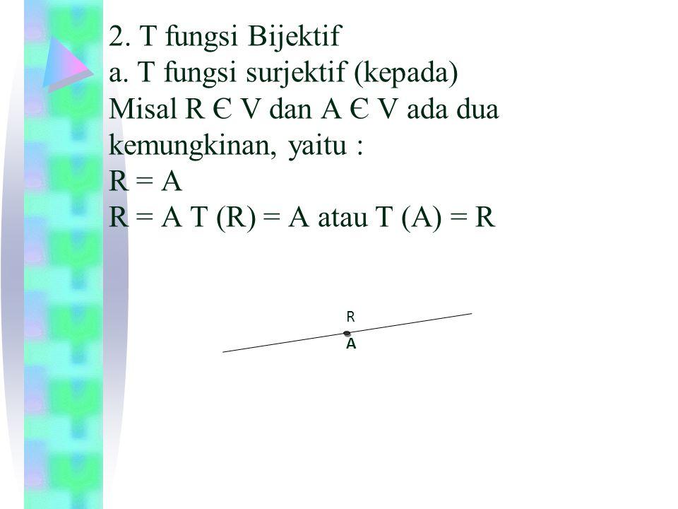 II. R ≠ A R ≠ A ada M titik tengah AR, maka T(M) = R T(M) = A AM R